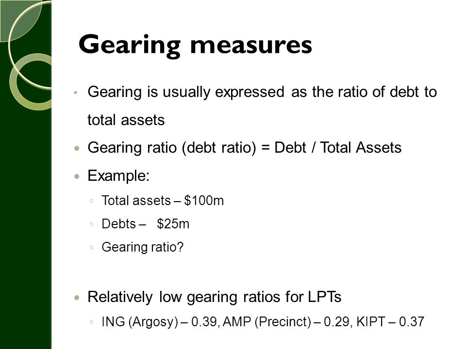 The effect of gearing on returns More debt means more fixed costs Thus, in good years, there will be enough to pay off the fixed costs and leftovers for the shareholders In bad years, we might not make enough to pay debt service, and we could be in trouble Effectively, variation of income and ROE will increase with increasing debt