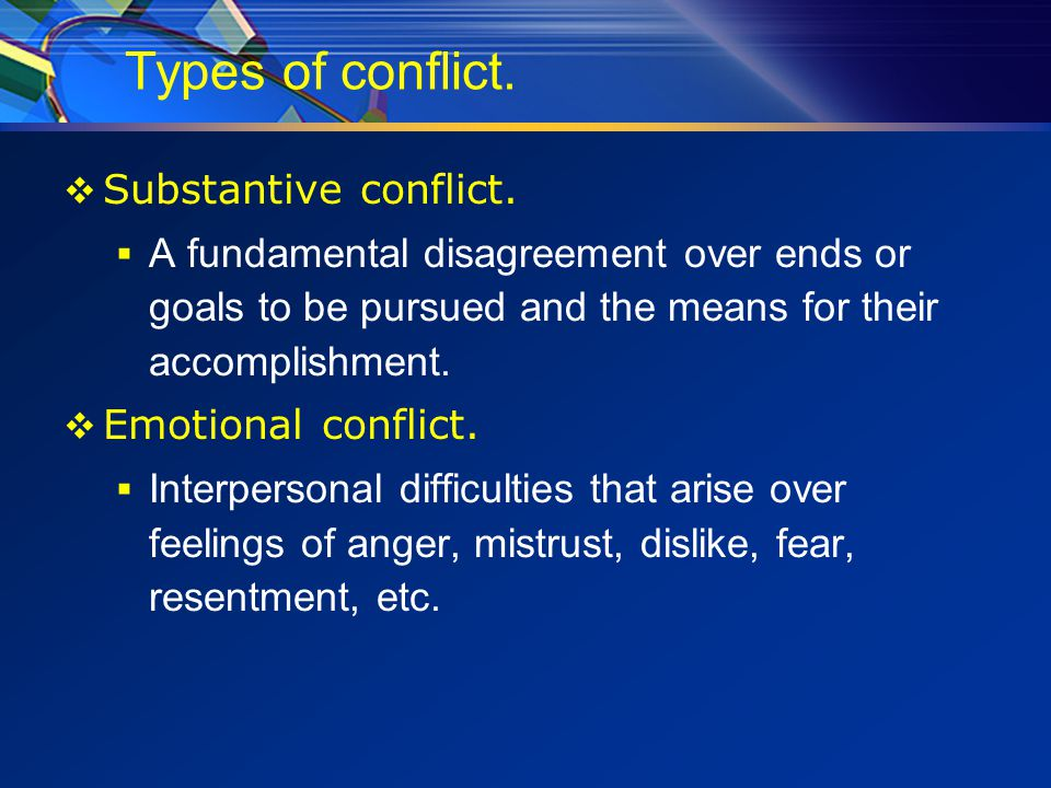Different Types of Conflict  Relationship Conflict  Data Conflict  Values Conflict  Structural Conflict  Interest Conflict  Goal Conflict  Method Conflict