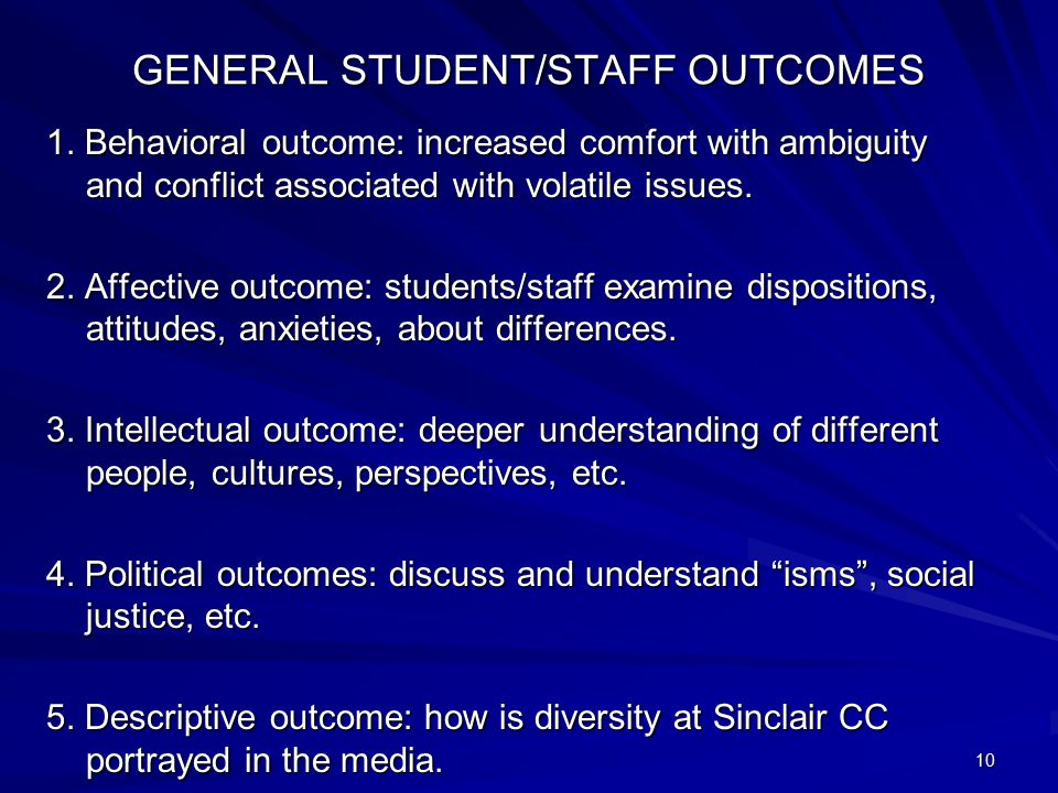 GENERAL STUDENT/STAFF OUTCOMES 1. Behavioral outcome: increased comfort with ambiguity and conflict associated with volatile issues. 2. Affective outc