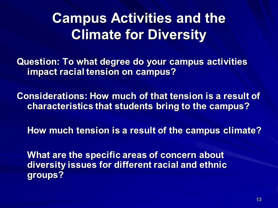 13 Campus Activities and the Climate for Diversity Question: To what degree do your campus activities impact racial tension on campus? Considerations:
