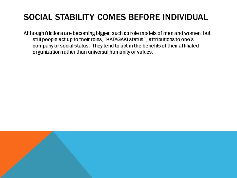 SOCIAL STABILITY COMES BEFORE INDIVIDUAL Although frictions are becoming bigger, such as role models of men and women, but still people act up to their roles, KATAGAKI status , attributions to one's company or social status.