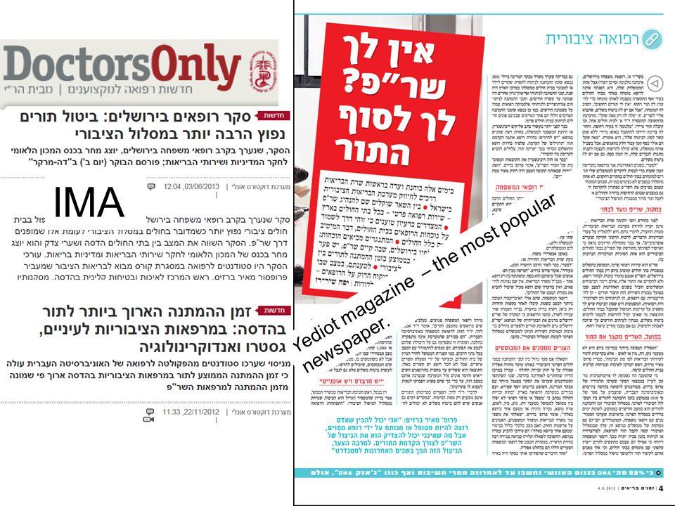 Yediot magazine – the most popular newspaper. IMA