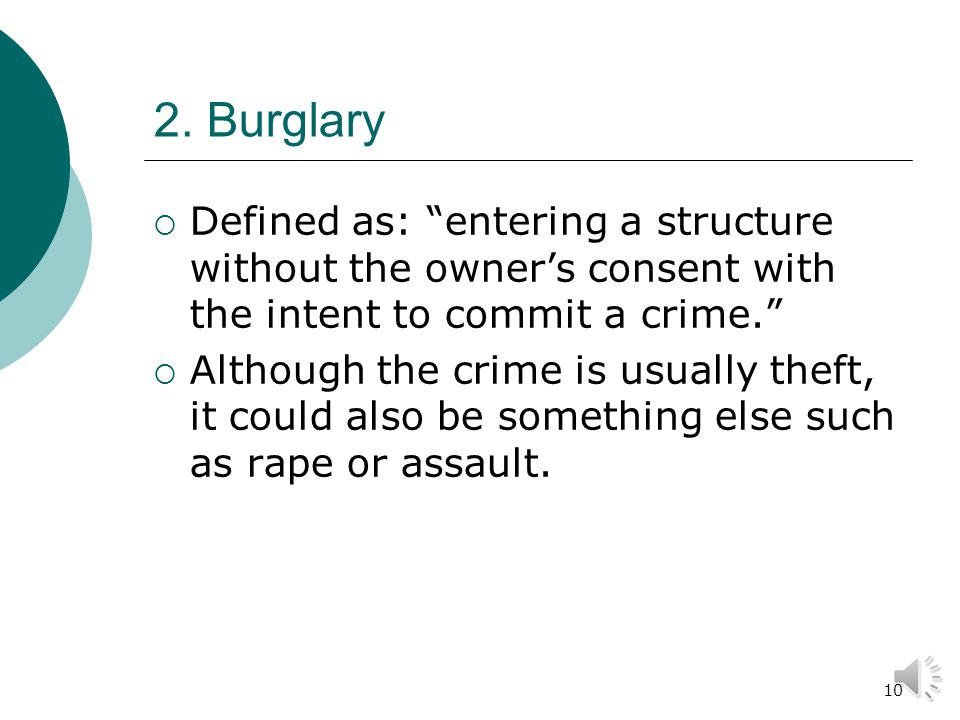 9 Where larceny/theft occurs: