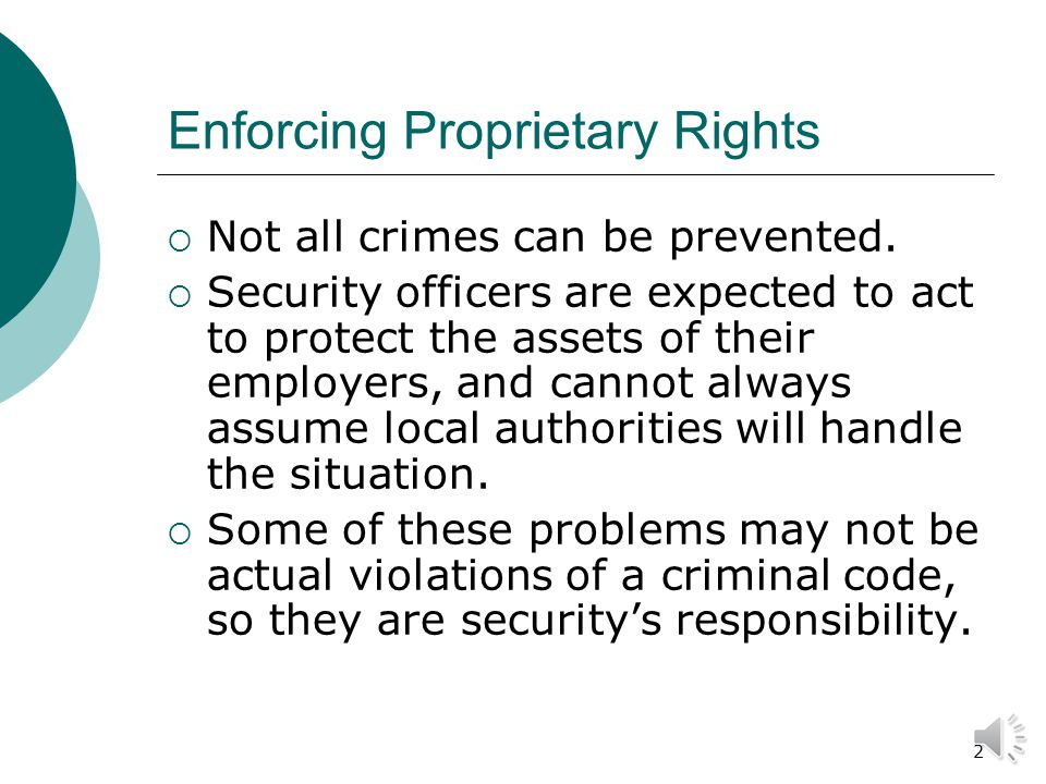 1 Introduction to Security Chapter 9 Preventing Losses from Criminal Actions