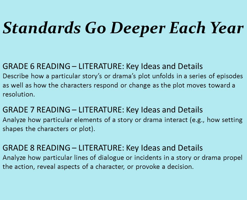 Standards Go Deeper Each Year GRADE 6 READING – LITERATURE: Key Ideas and Details Describe how a particular story's or drama's plot unfolds in a serie