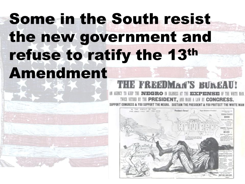 President Johnson's Plan  Offered amnesty upon simple oath to all except Confederate civil and military officers and those with property over $20,000 (they could apply directly to Johnson)  In new constitutions, they must accept minimum conditions repudiating slavery, secession and state debts.