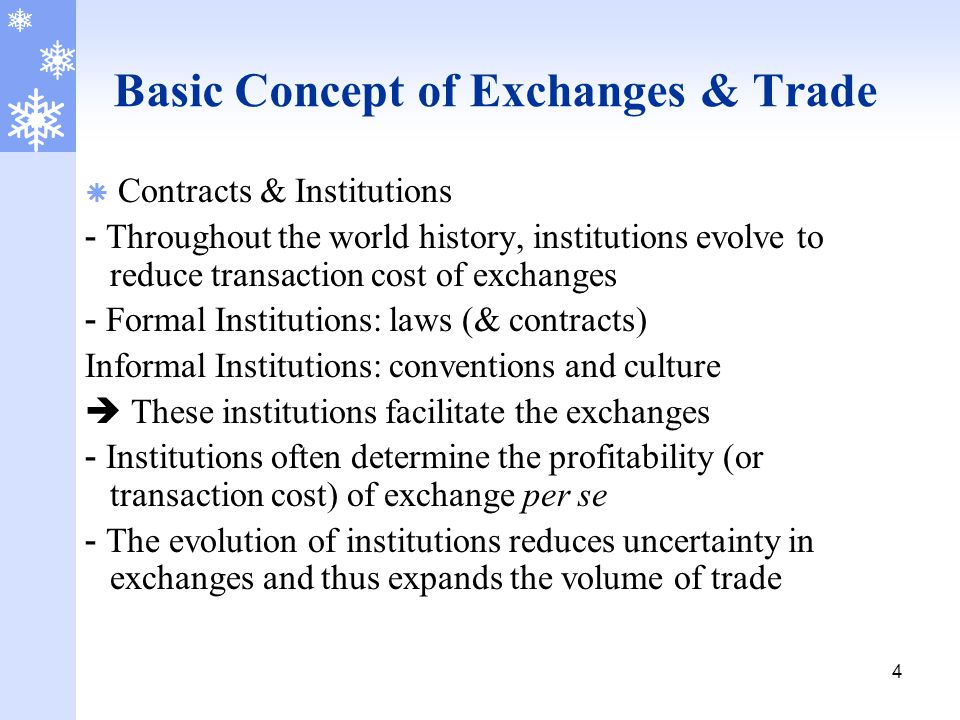 4 Basic Concept of Exchanges & Trade  Contracts & Institutions - Throughout the world history, institutions evolve to reduce transaction cost of exch