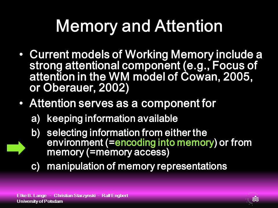 Memory and Attention Elke B. Lange - Christian Starzynski - Ralf Engbert University of Potsdam Current models of Working Memory include a strong atten