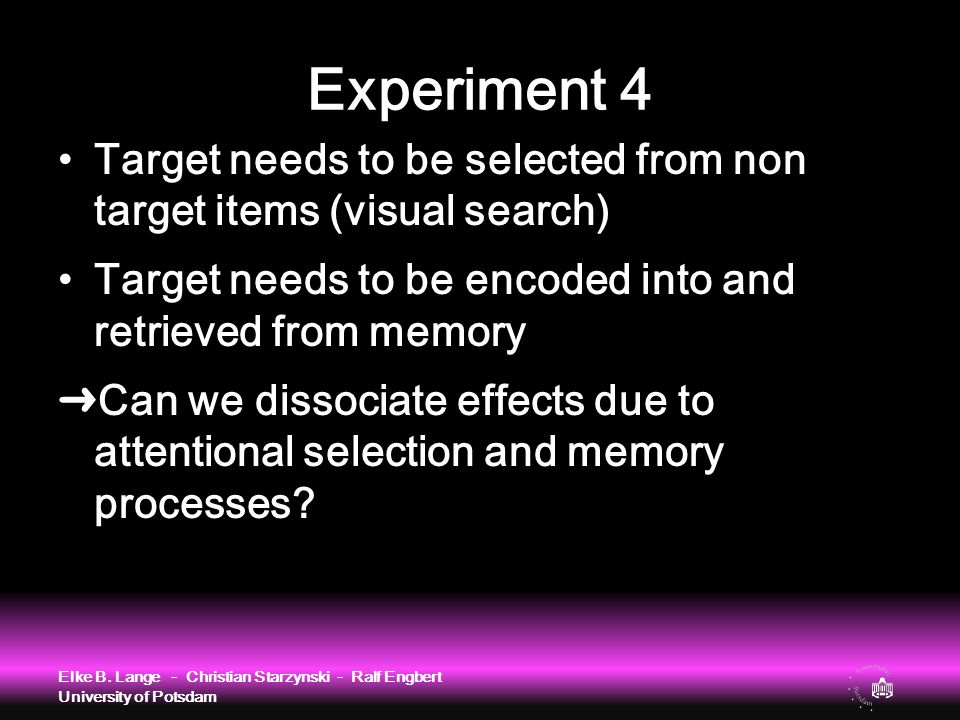 Experiment 4 Target needs to be selected from non target items (visual search) Target needs to be encoded into and retrieved from memory ➜Can we disso