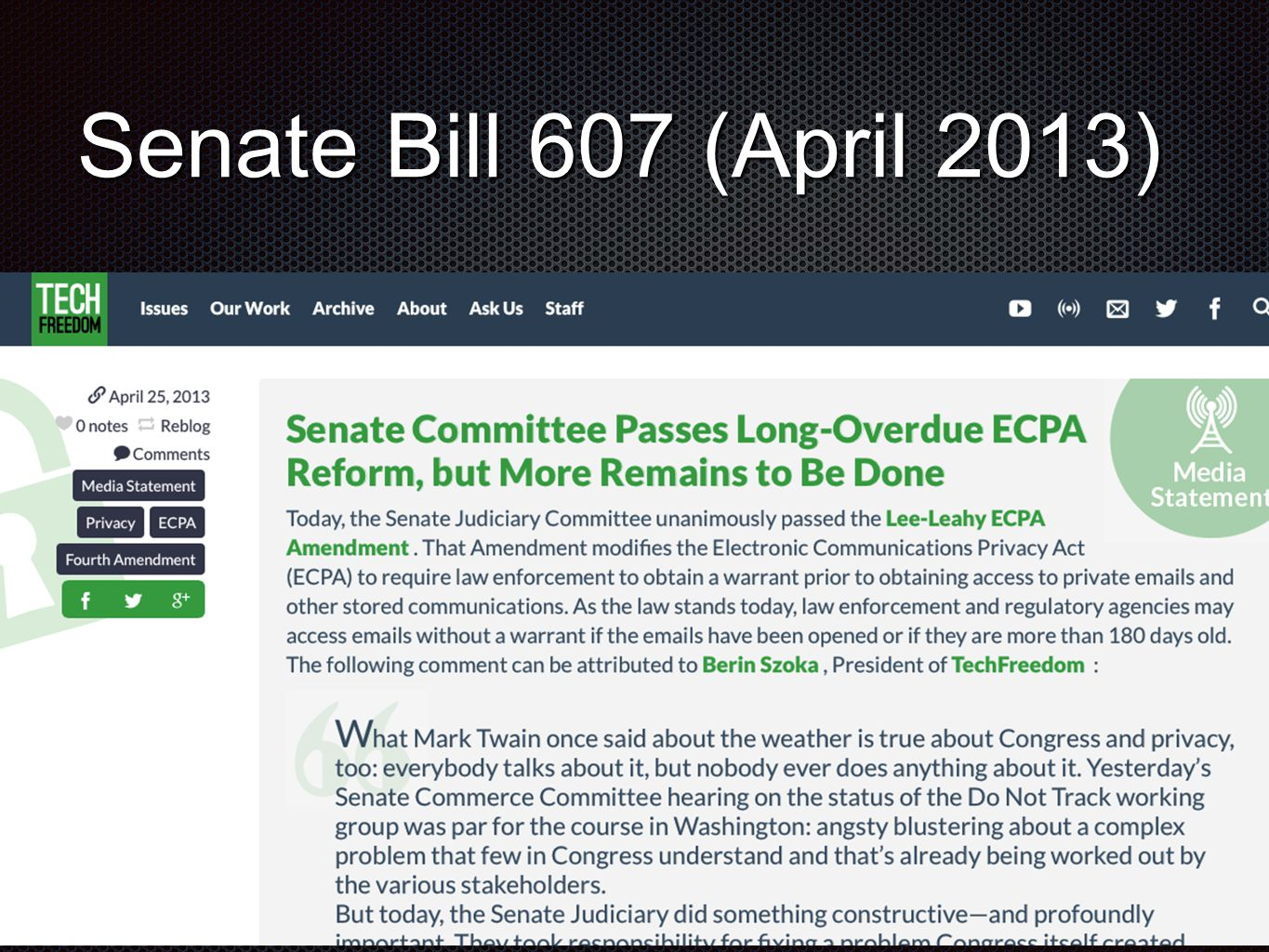 Senate Bill 607 (April 2013)