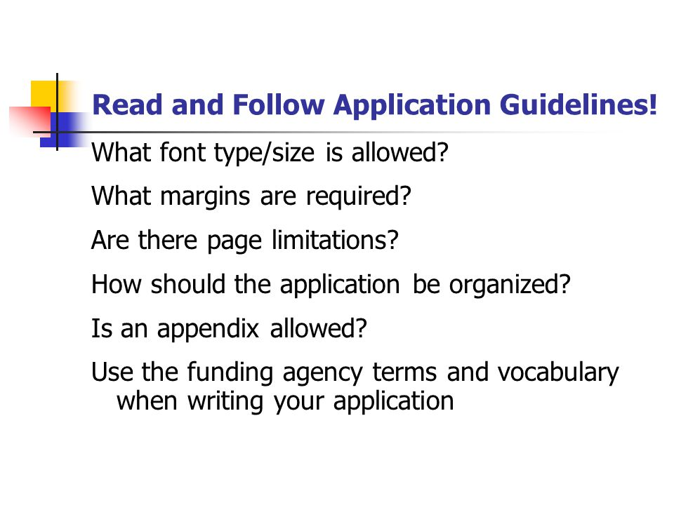 Read and Follow Application Guidelines. What font type/size is allowed.