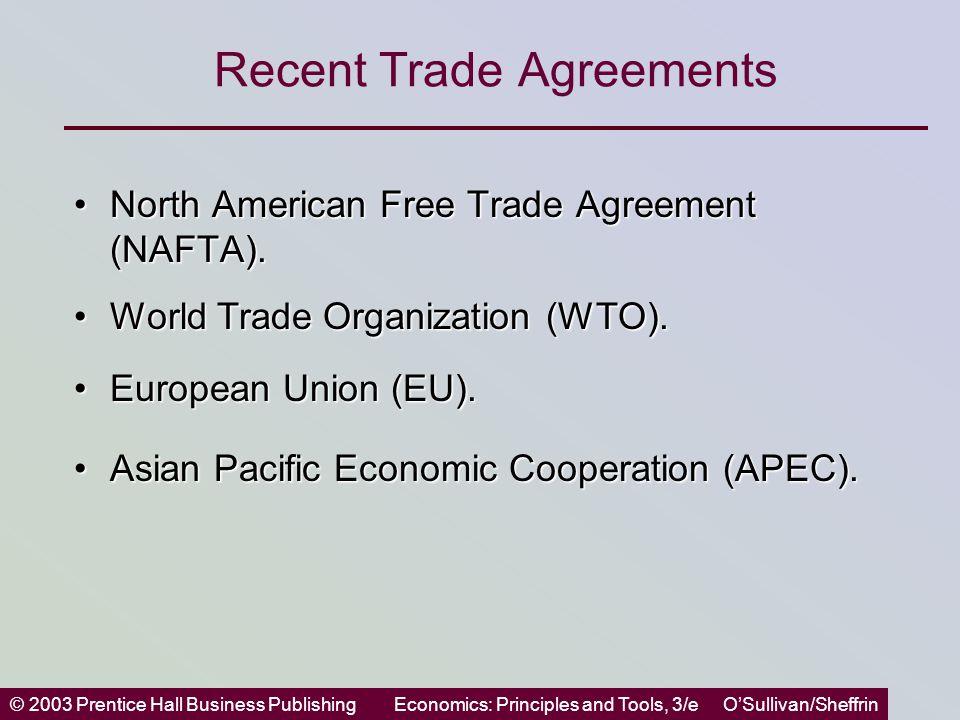 © 2003 Prentice Hall Business PublishingEconomics: Principles and Tools, 3/e O'Sullivan/Sheffrin Recent Trade Agreements North American Free Trade Agreement (NAFTA).North American Free Trade Agreement (NAFTA).
