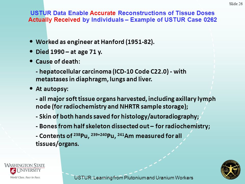 Slide 26 USTUR: Learning from Plutonium and Uranium Workers USTUR Data Enable Accurate Reconstructions of Tissue Doses Actually Received by Individuals – Example of USTUR Case 0262 Worked as engineer at Hanford (1951-82).