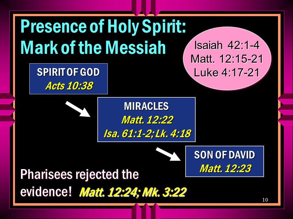 10 MIRACLES Matt. 12:22 Isa. 61:1-2; Lk. 4:18 SON OF DAVID Matt.