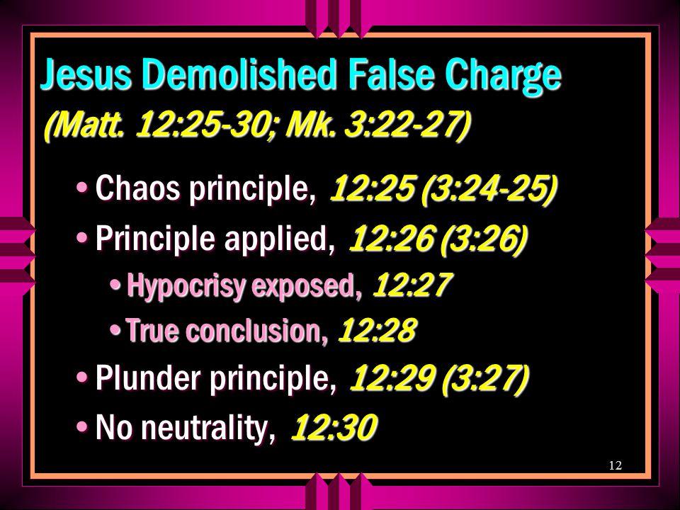 12 Jesus Demolished False Charge (Matt. 12:25-30; Mk.