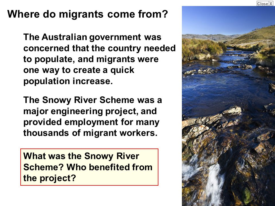 The Snowy River Scheme was a major engineering project, and provided employment for many thousands of migrant workers.