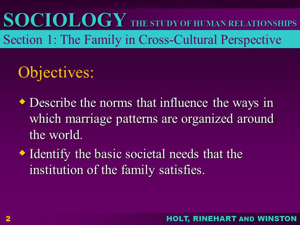 HOLT, RINEHART AND WINSTON THE STUDY OF HUMAN RELATIONSHIPS SOCIOLOGY 2 Objectives:  Describe the norms that influence the ways in which marriage patterns are organized around the world.