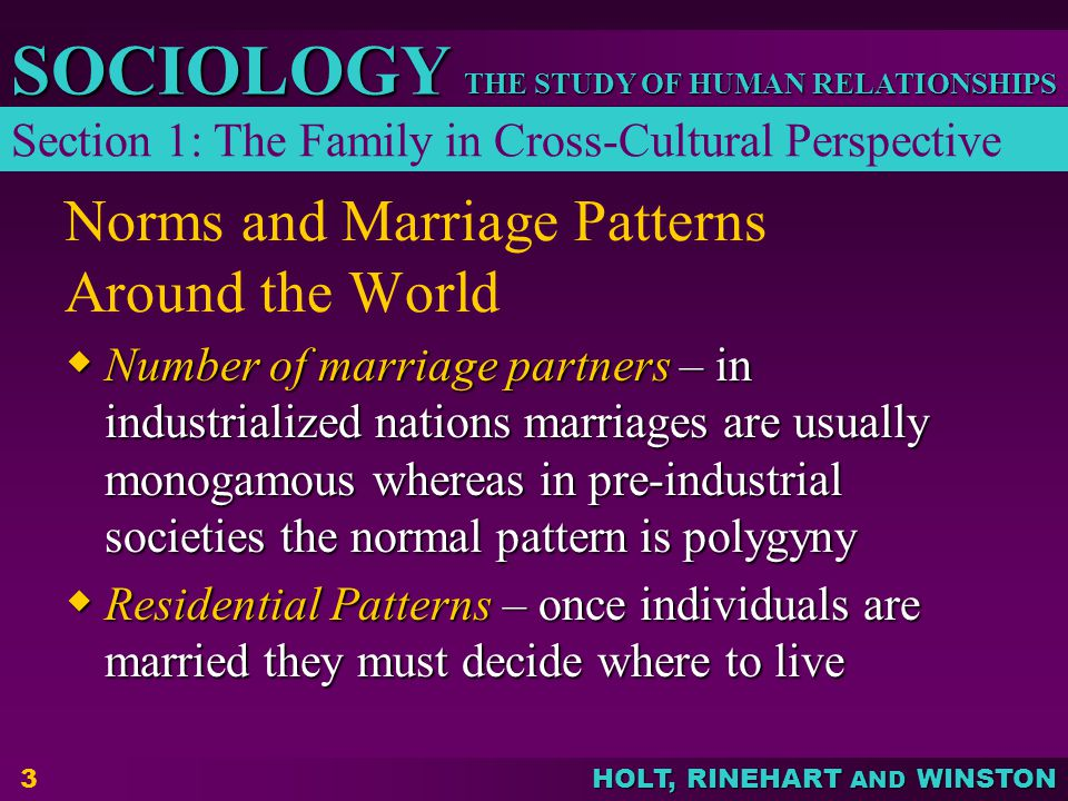 HOLT, RINEHART AND WINSTON THE STUDY OF HUMAN RELATIONSHIPS SOCIOLOGY 3 Norms and Marriage Patterns Around the World  Number of marriage partners – in industrialized nations marriages are usually monogamous whereas in pre-industrial societies the normal pattern is polygyny  Residential Patterns – once individuals are married they must decide where to live Section 1: The Family in Cross-Cultural Perspective