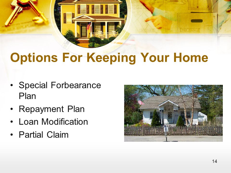 14 Options For Keeping Your Home Special Forbearance Plan Repayment Plan Loan Modification Partial Claim