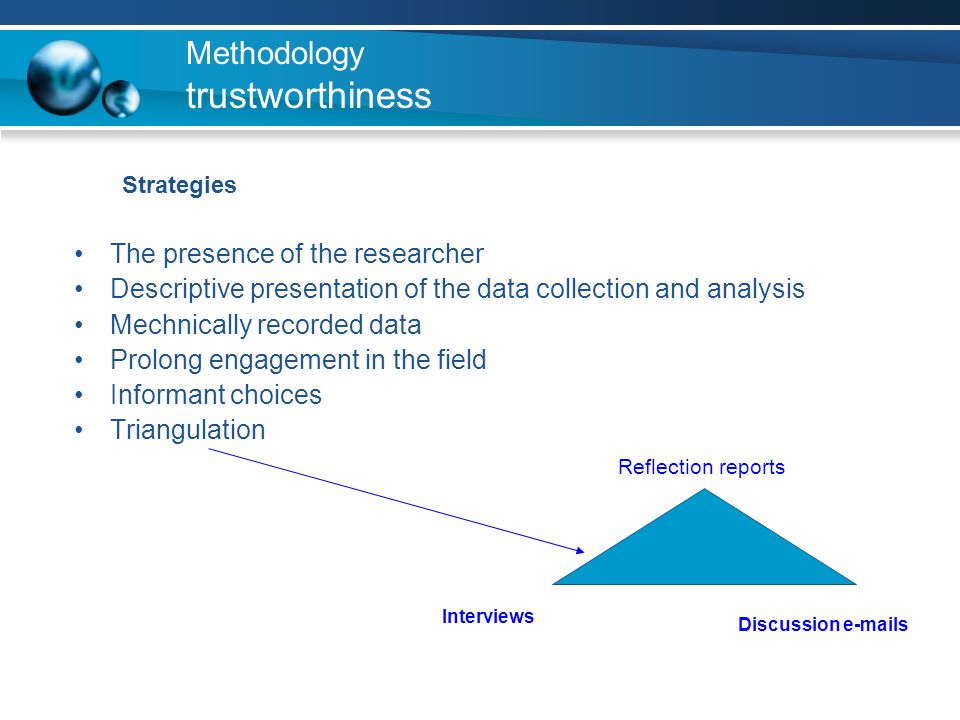 Methodology trustworthiness Strategies The presence of the researcher Descriptive presentation of the data collection and analysis Mechnically recorde