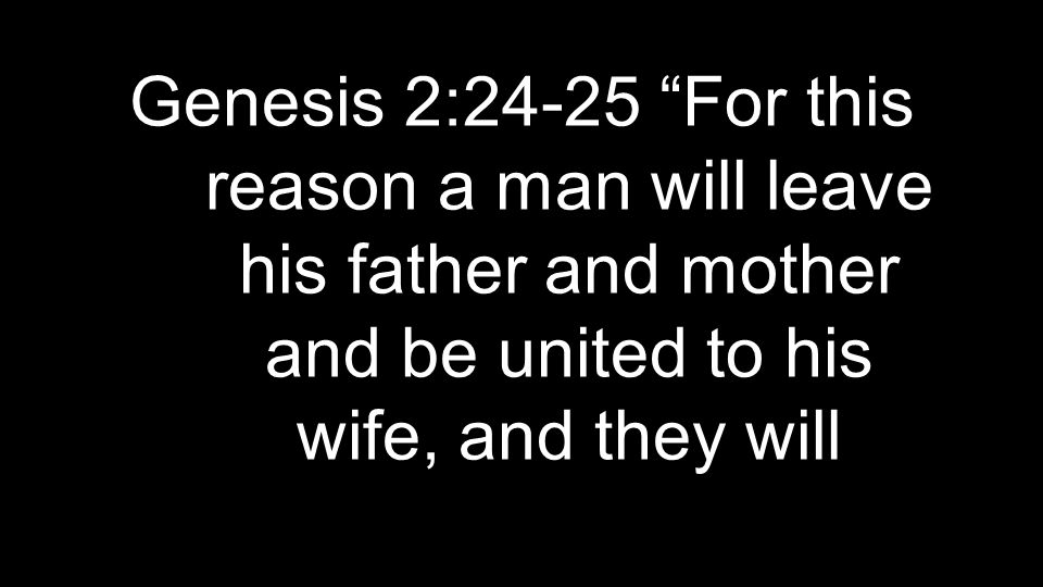 "Genesis 2:24-25 ""For this reason a man will leave his father and mother and be united to his wife, and they will"