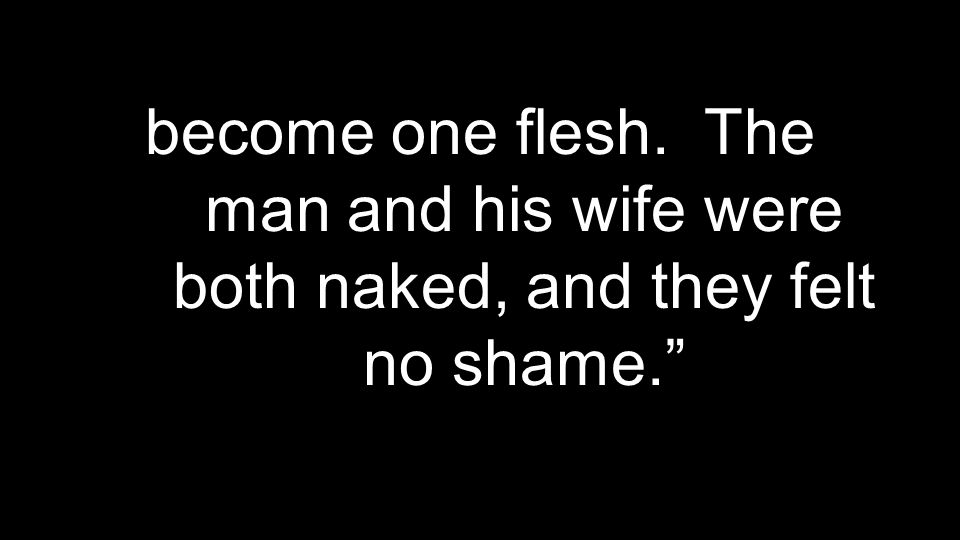 become one flesh. The man and his wife were both naked, and they felt no shame.