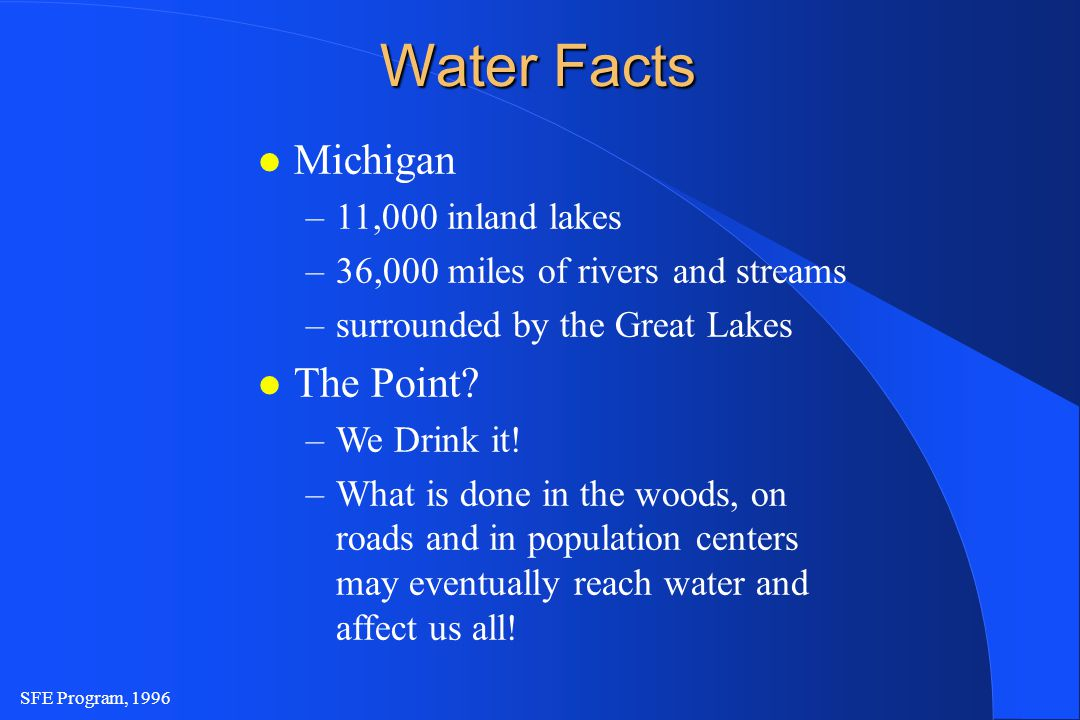 SFE Program, 1996 Water Facts l Michigan –11,000 inland lakes –36,000 miles of rivers and streams –surrounded by the Great Lakes l The Point.