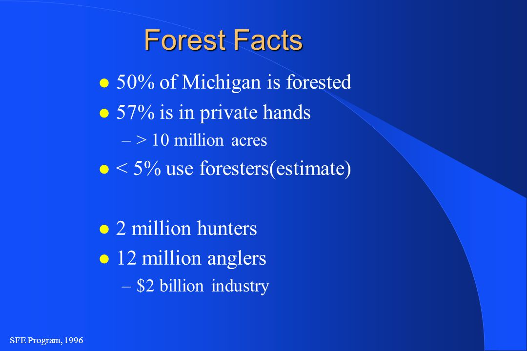 SFE Program, 1996 Forest Facts l 50% of Michigan is forested l 57% is in private hands –> 10 million acres l < 5% use foresters(estimate) l 2 million hunters l 12 million anglers –$2 billion industry