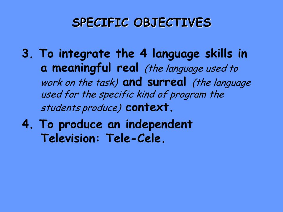 EXPECTED OUTCOMES 1.A team-created TV program produced by students and for students.