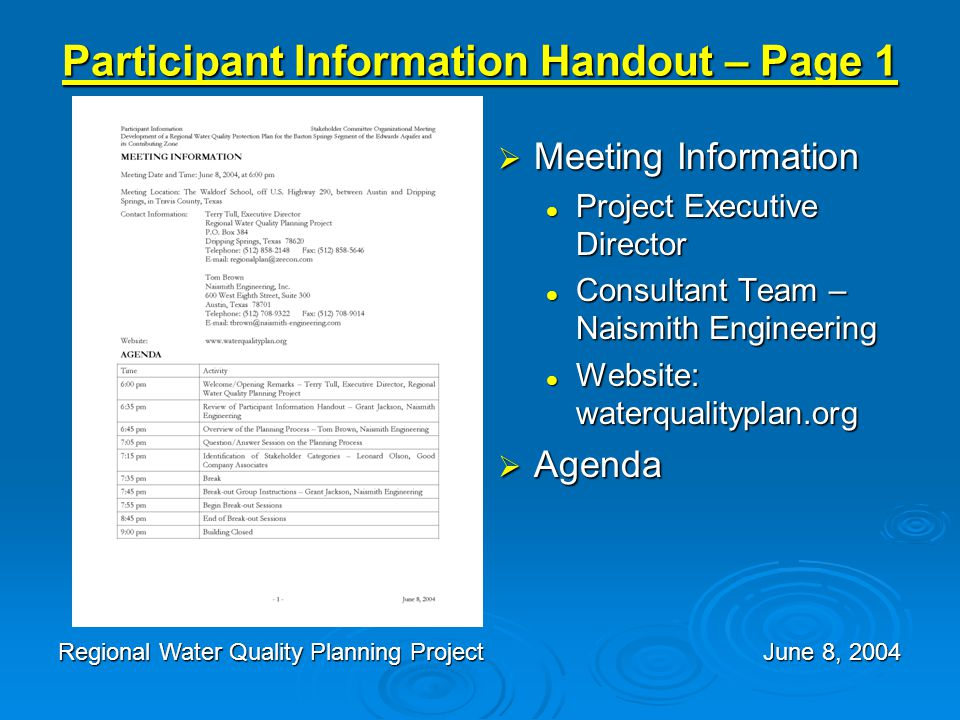 Participant Information Handout – Page 1  Meeting Information Project Executive Director Consultant Team – Naismith Engineering Website: waterqualityplan.org  Agenda Regional Water Quality Planning Project June 8, 2004