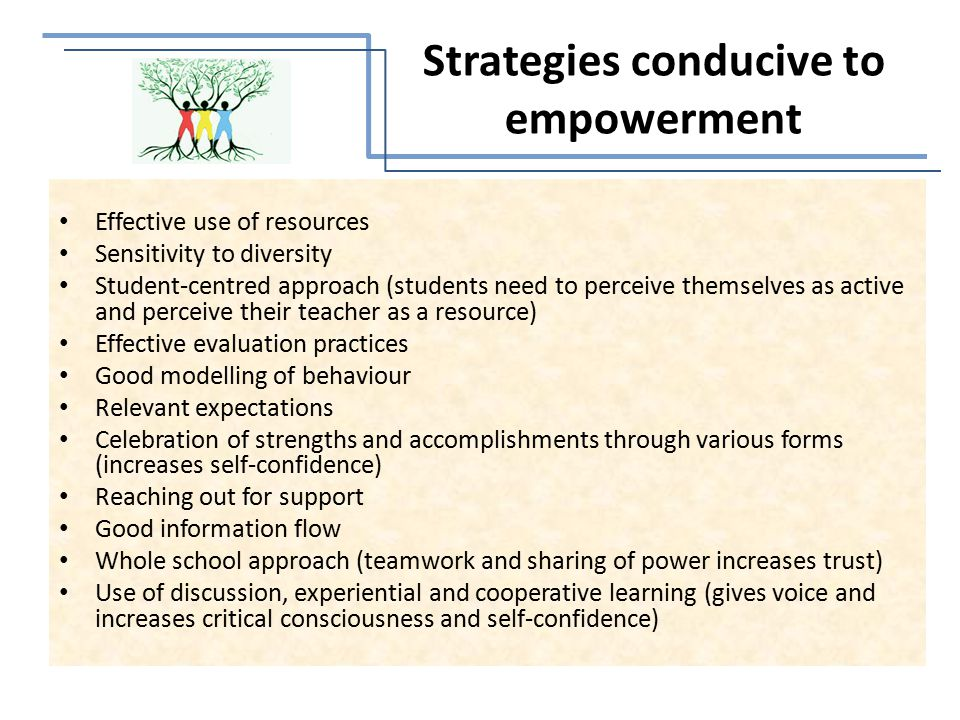 Effective use of resources Sensitivity to diversity Student-centred approach (students need to perceive themselves as active and perceive their teacher as a resource) Effective evaluation practices Good modelling of behaviour Relevant expectations Celebration of strengths and accomplishments through various forms (increases self-confidence) Reaching out for support Good information flow Whole school approach (teamwork and sharing of power increases trust) Use of discussion, experiential and cooperative learning (gives voice and increases critical consciousness and self-confidence) Strategies conducive to empowerment
