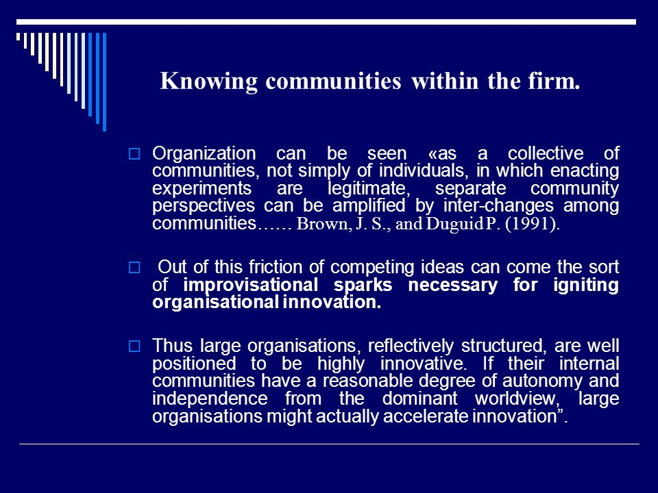 Knowing communities within the firm.