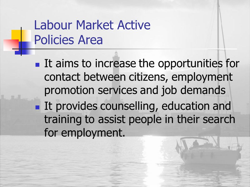 Labour Market Active Policies Area It aims to increase the opportunities for contact between citizens, employment promotion services and job demands It provides counselling, education and training to assist people in their search for employment.
