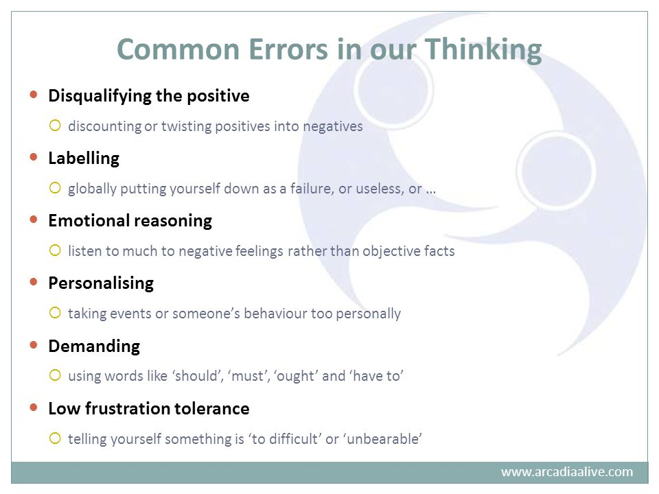 Common Errors in our Thinking Disqualifying the positive  discounting or twisting positives into negatives Labelling  globally putting yourself down as a failure, or useless, or … Emotional reasoning  listen to much to negative feelings rather than objective facts Personalising  taking events or someone's behaviour too personally Demanding  using words like 'should', 'must', 'ought' and 'have to' Low frustration tolerance  telling yourself something is 'to difficult' or 'unbearable' www.arcadiaalive.com
