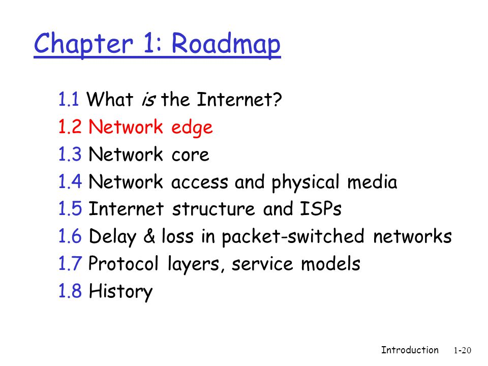 Introduction1-20 Chapter 1: Roadmap 1.1 What is the Internet.