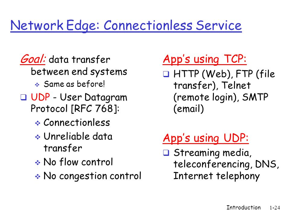 Introduction1-24 Network Edge: Connectionless Service Goal: data transfer between end systems  Same as before.