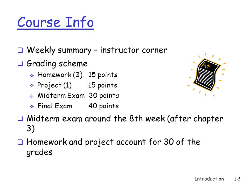 Introduction1-5 Course Info  Weekly summary – instructor corner  Grading scheme  Homework (3) 15 points  Project (1) 15 points  Midterm Exam 30 points  Final Exam 40 points  Midterm exam around the 8th week (after chapter 3)  Homework and project account for 30 of the grades