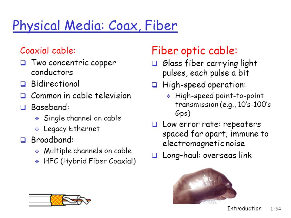 Introduction1-54 Physical Media: Coax, Fiber Coaxial cable:  Two concentric copper conductors  Bidirectional  Common in cable television  Baseband:  Single channel on cable  Legacy Ethernet  Broadband:  Multiple channels on cable  HFC (Hybrid Fiber Coaxial) Fiber optic cable:  Glass fiber carrying light pulses, each pulse a bit  High-speed operation:  High-speed point-to-point transmission (e.g., 10's-100's Gps)  Low error rate: repeaters spaced far apart; immune to electromagnetic noise  Long-haul: overseas link