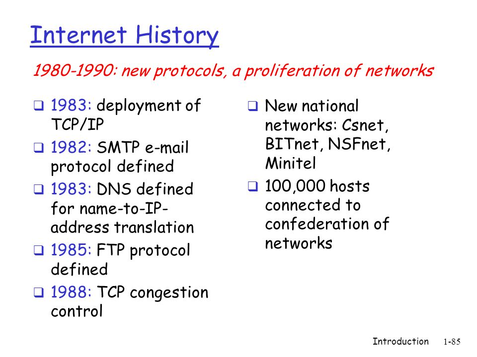Introduction1-85 Internet History  1983: deployment of TCP/IP  1982: SMTP e-mail protocol defined  1983: DNS defined for name-to-IP- address translation  1985: FTP protocol defined  1988: TCP congestion control  New national networks: Csnet, BITnet, NSFnet, Minitel  100,000 hosts connected to confederation of networks 1980-1990: new protocols, a proliferation of networks