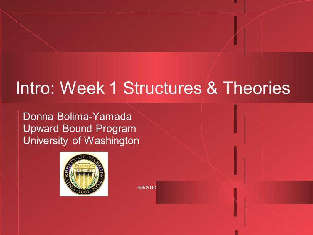 4/9/2010 Intro: Week 1 Structures & Theories Donna Bolima-Yamada Upward Bound Program University of Washington