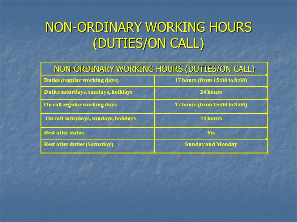 NON-ORDINARY WORKING HOURS (DUTIES/ON CALL) Duties (regular working days)17 hours (from 15:00 to 8:00) Duties saturdays, sundays, holidays24 hours On call regular working days17 hours (from 15:00 to 8:00) On call saturdays, sundays, holidays24 hours Rest after dutiesYes Rest after duties (Saturday)Sunday and Monday