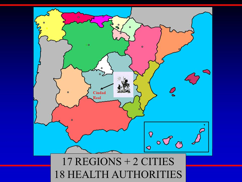 17 REGIONS + 2 CITIES 18 HEALTH AUTHORITIES Ciudad Real
