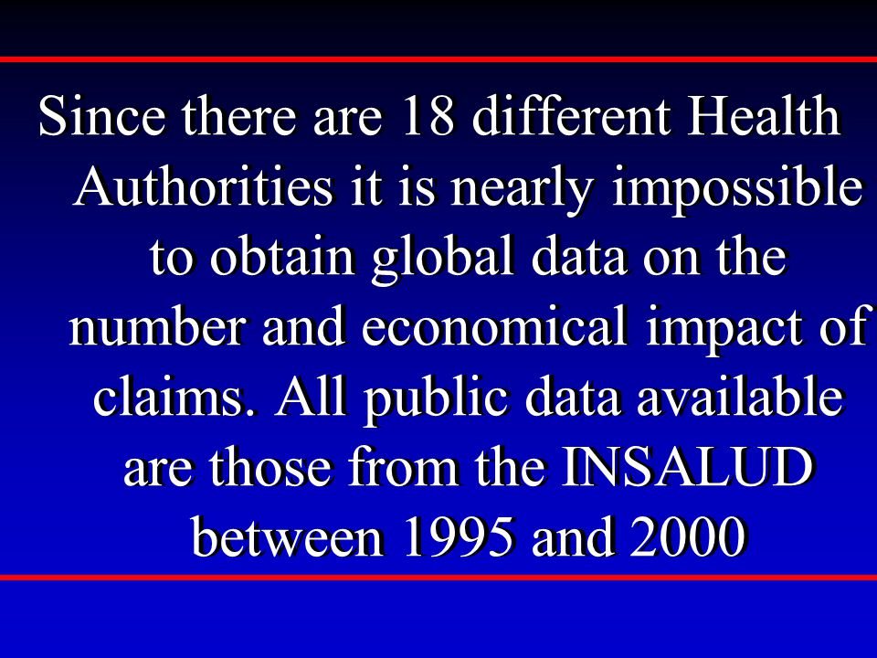 Since there are 18 different Health Authorities it is nearly impossible to obtain global data on the number and economical impact of claims.