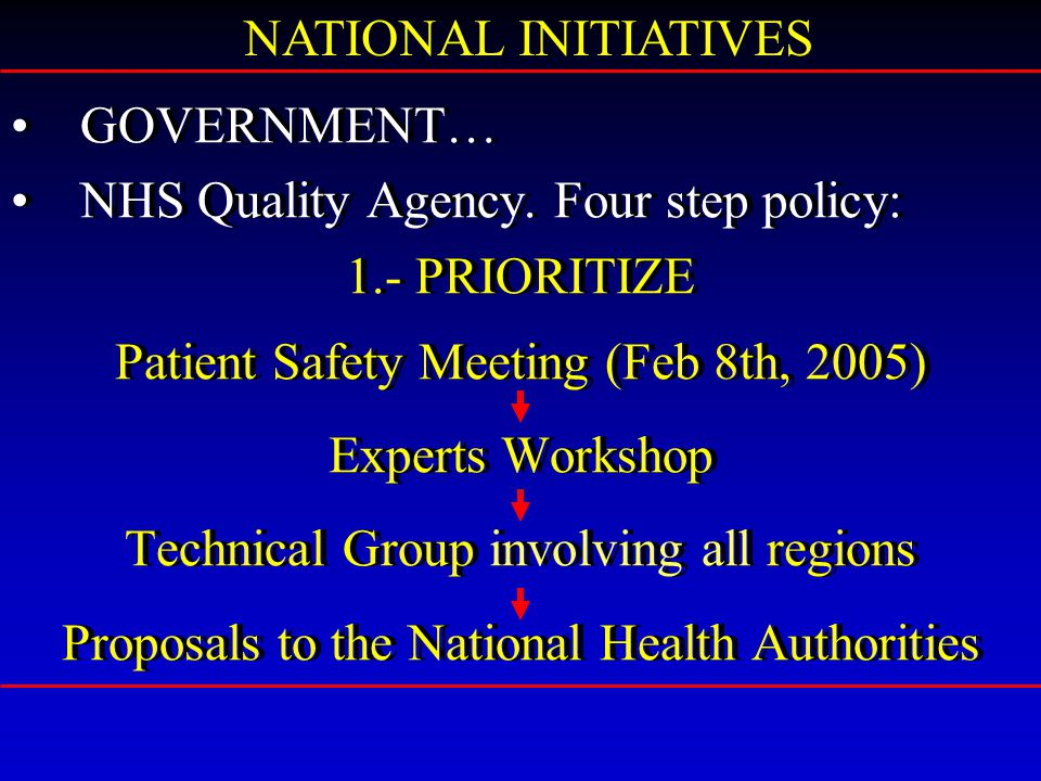 GOVERNMENT… NHS Quality Agency.