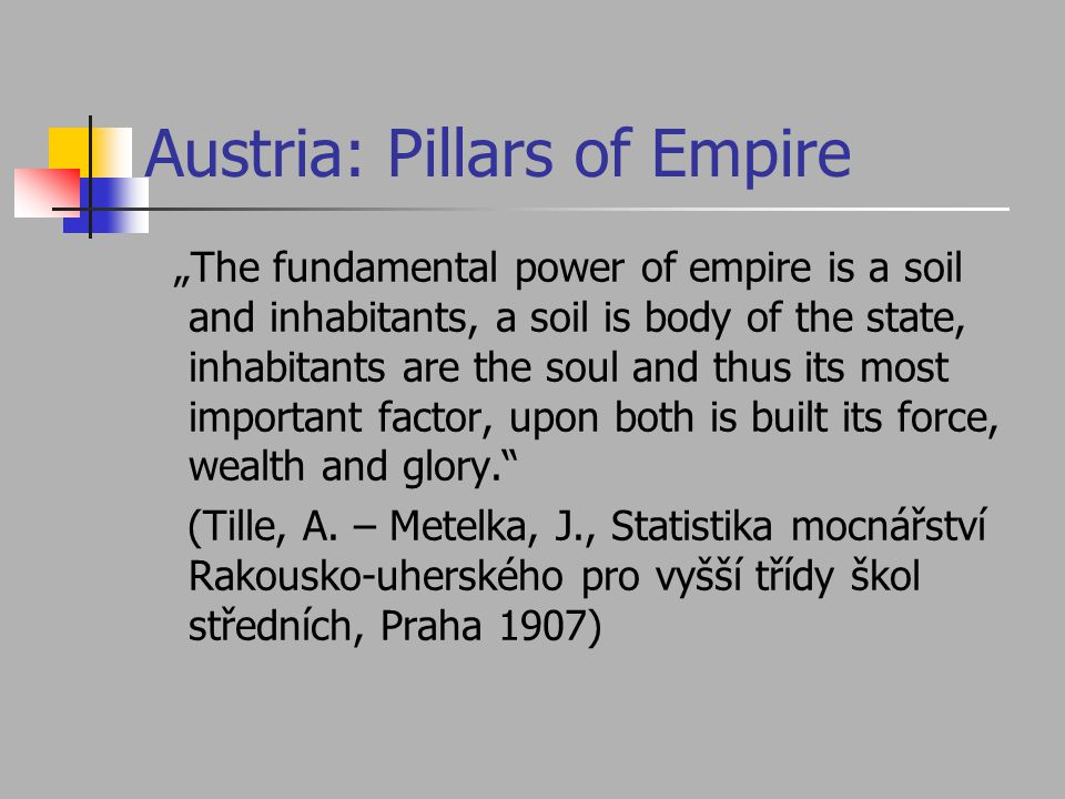 "Austria: Pillars of Empire ""The fundamental power of empire is a soil and inhabitants, a soil is body of the state, inhabitants are the soul and thus its most important factor, upon both is built its force, wealth and glory. (Tille, A."