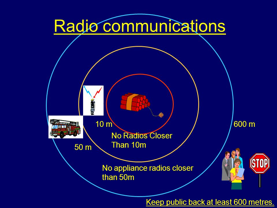 Radio communications 10 m 50 m 600 m No Radios Closer Than 10m No appliance radios closer than 50m Keep public back at least 600 metres.