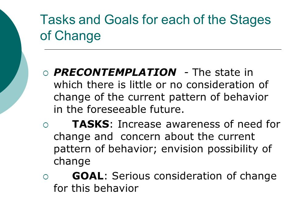 Tasks and Goals for each of the Stages of Change  PRECONTEMPLATION - The state in which there is little or no consideration of change of the current