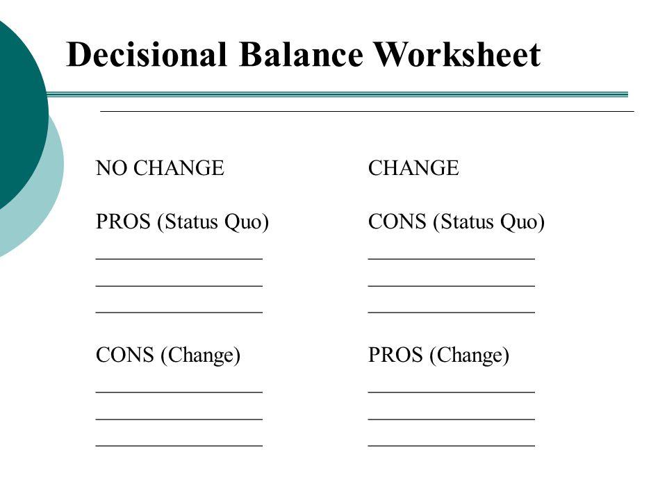 Decisional Balance Worksheet NO CHANGE PROS (Status Quo) _______________ CONS (Change) _______________ CHANGE CONS (Status Quo) _______________ PROS (