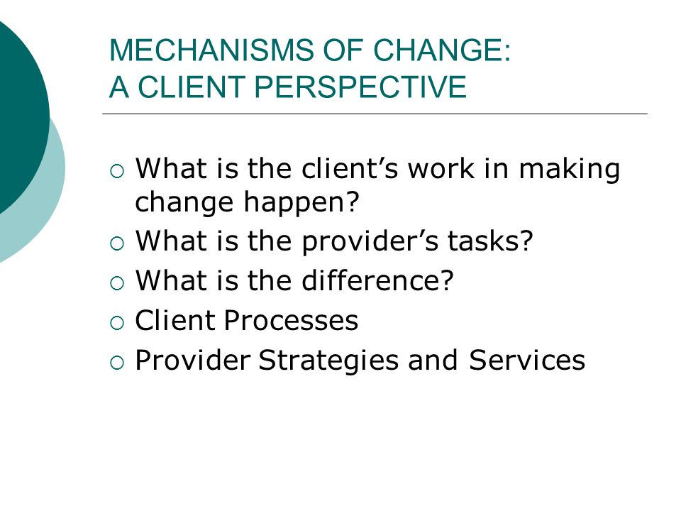 MECHANISMS OF CHANGE: A CLIENT PERSPECTIVE  What is the client's work in making change happen?  What is the provider's tasks?  What is the differen