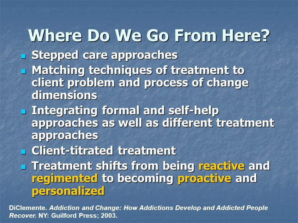 Where Do We Go From Here? Stepped care approaches Stepped care approaches Matching techniques of treatment to client problem and process of change dim